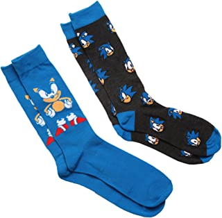Sega Sonic Men's 2 pack (2 Pair) Blue Crew Socks