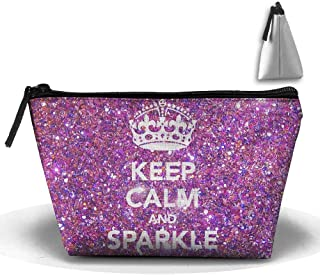 Keep Calm and Sparkle Makeup Bag Storage Portable Travel Wash Tote Zipper Wallet Handbag Carry Case