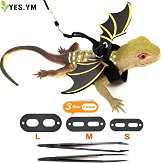 YES.YM Adjustable Lizard Leash(S,M,L) Bearded Dragon Leather Harness Leash with Cool Wings for Small, Medium and Large Lizard Reptiles Amphibians