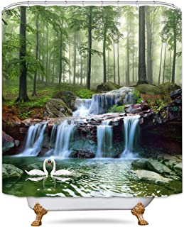 Riyidecor Waterfall Shower Curtain Forest Nature Landscape Swan Tree Jungle Lack Bathroom Set Home Decor Accessories Fabric Polyester 72X72 Inch Green Botanical