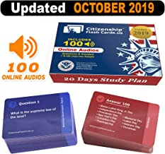 US Citizenship test Civics Flash Cards for the Naturalization Exam 2019 | Includes Online Audios with all official 100 USCIS Questions and Answers | USCIS N-400. Get ready for the Immigration Test in only 20 days.