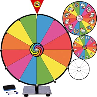 "Prize Wheel 15"" Dry Erase Game for Fundraisers, Loud Clacker, True Motion, Metal Pegs, Rainbow Unicorn Gift Idea Birthday Game for Kids - Tabletop Wheel Spinner for School Party Event Casino, 15 inch"