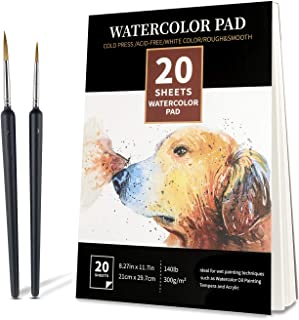 Watercolor Paper Pad -with Two Detail Brushes 20Sheets(140lb/300gsm), 8.27