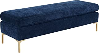 TOV Furniture The Delilah Collection Modern Handcrafted Velvet Upholstered Solid Gold Finish Kiln Dried Wood Bedroom Accent Bench, Navy