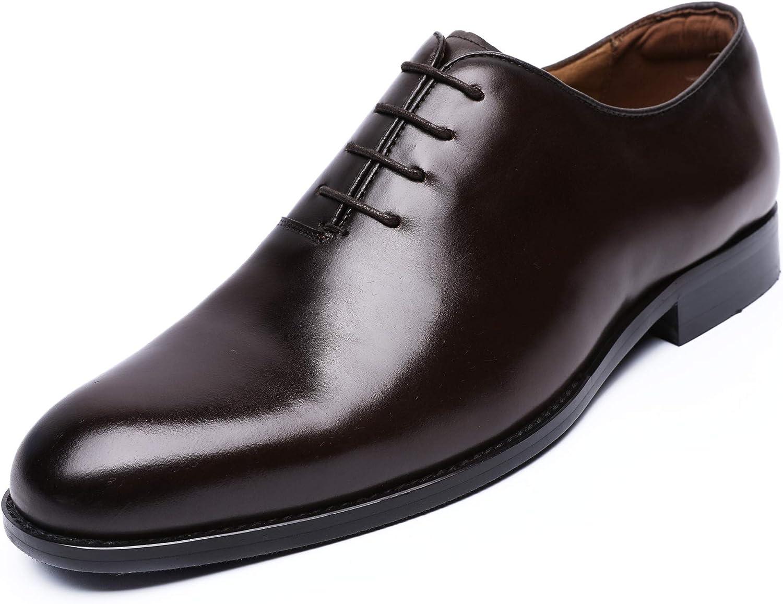 DESAI Men's Oxford Formal Classic Leather Cap Toe Lace-up Dress shoes