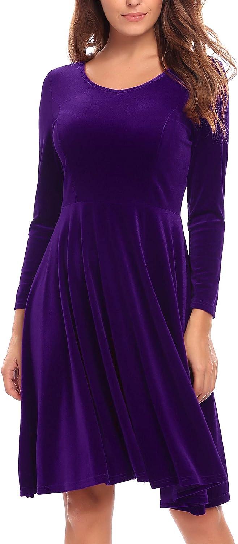 BEAUTYTALK Women's Long Sleeve Swing Flared A Line Velvet Knee Length Dress
