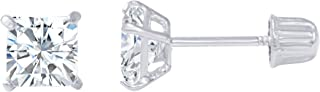 14K Gold Square Solitaire Princess Cut Cubic Zirconia CZ Stud Screw Back Earrings in Yellow OR White (Various Sizes)