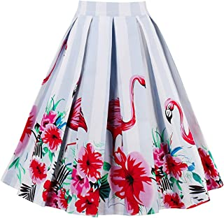 Women's Pleated Vintage Skirt Floral Print A-line Midi Skirts with Pockets