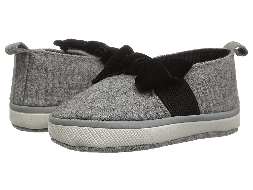 Baby Deer Soft Sole Slip-On with Bow (Infant) (Grey) Girl