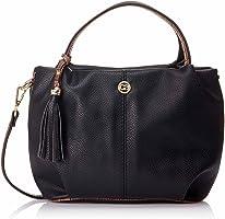 Club Aldo Front Logo Dual Top Handle Handbag with Detachable Shoulder Strap for Women