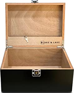 Locking Wood Storage Box - Decorative box for Home or Office - Wooden Box with Hinged Lid Keepsake Box with Lock (Black)