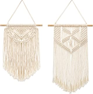 Mkono 2 Pcs Macrame Wall Hanging Small Art Woven Wall Decor Boho Chic Home Decoration for Apartment Bedroom Living Room Gallery, 13