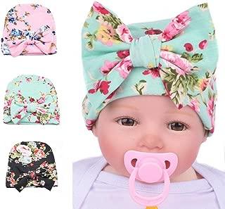 Baby Girls Nursery Newborn Floral Hospital Hat with Big Bow