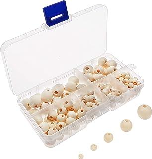 TOAOB 160 pièces 6 à 14mm Perles en Bois Rondes Naturelle Taille Mixtes Perles pour Bijoux Fabrication Accessoire DIY