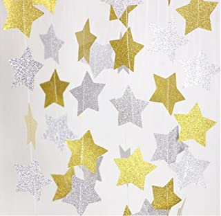 76a751f5f Amyzor 52 Feet Gold + Silver Sparkling Glitter Star Garland Bunting Paper  Banner Hanging Decorations for