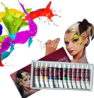 Face Paint Kit,12 Colors Professional Face Painting, Non-Toxic Body Paint Halloween Makeup, Rich Pigment, Face Painting Kits for Kids Art for Party Halloween Body Decorate