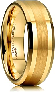 GLORY 8mm Gold Tungsten Carbide Ring Brushed Center Mens Wedding Band Comfort Fit