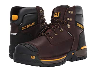 Caterpillar 6 Excavator LT Waterproof Soft Toe (Espresso Full Grain Leather) Men