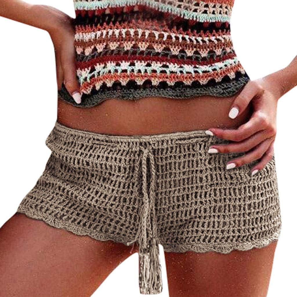 VonVonCo Bikini Panties for Women Pure Color Sexy Hollow Swimmin Swimwear Beach Shorts Hot Pants Khaki L