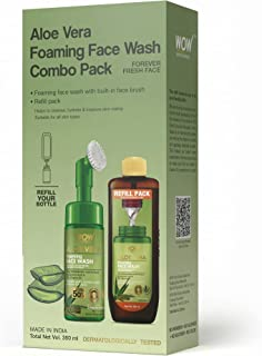 WOW Skin Science Aloe Vera Foaming Face Wash Combo Pack- Consist of Foaming Face Wash with Built-In Brush & Refill Pack - ...