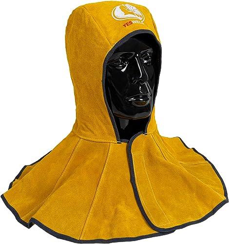 lowest YESWELDER Golden Cowhide outlet sale Split Leather Welding Hood with Neck Shoulder Drape sale - Welding Caps online