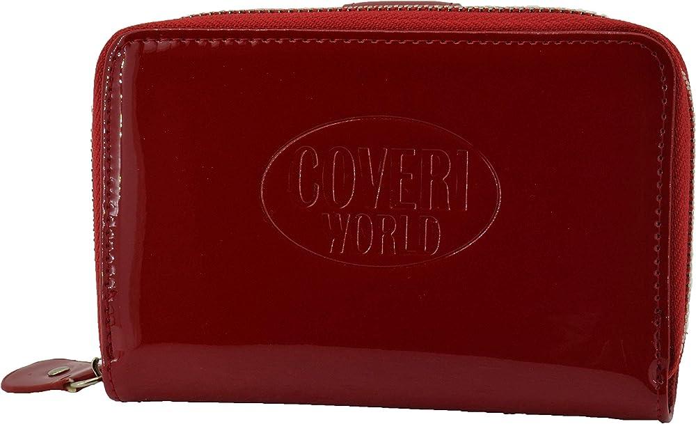 Coveri, portafoglio per donna in ecopelle effetto lucido, con cerniera, rosso
