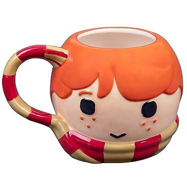 Harry Potter Ron Figural Ceramic Coffee Mug - Cute Chibi Design with Gryffindor Scarf Handle - 24 oz