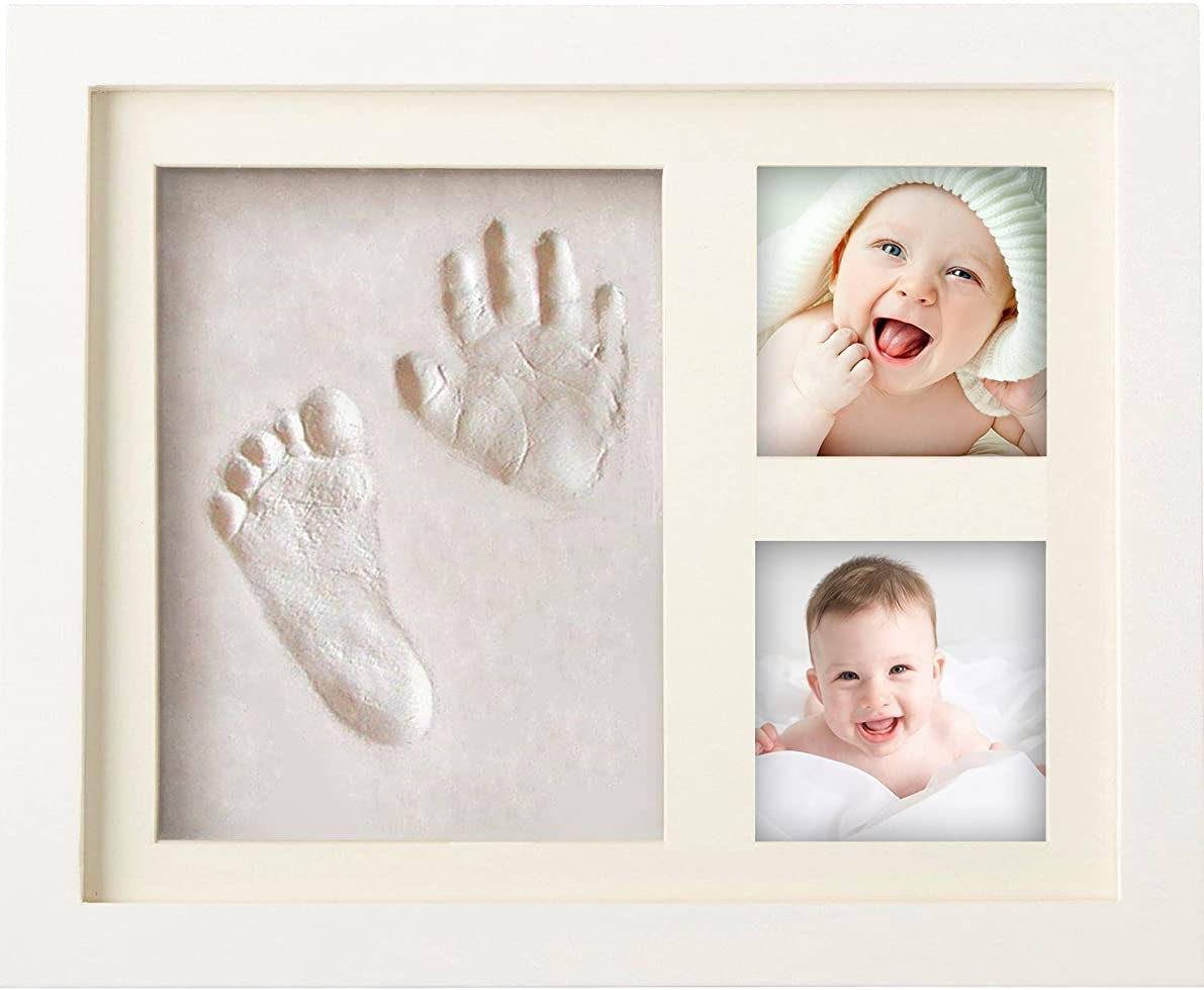 MyMiniJoy Newborn Baby Handprint and Footprint Picture Frame Kit, Keepsake Box for Boys and Girls, Memorable and Unique Baby Shower Gift Idea for Registry, Personalized Table and Wall Photo Decoration