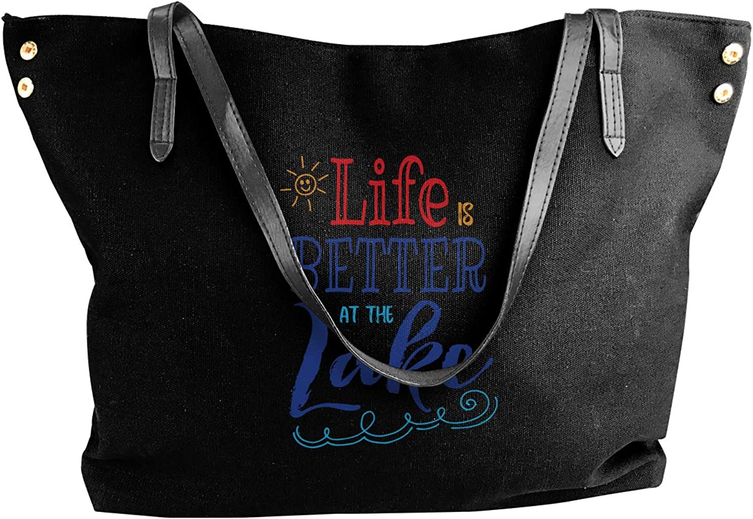 Life Is Better At The Lake 1 Women'S Casual Canvas Shoulder Bag For Work Handbag