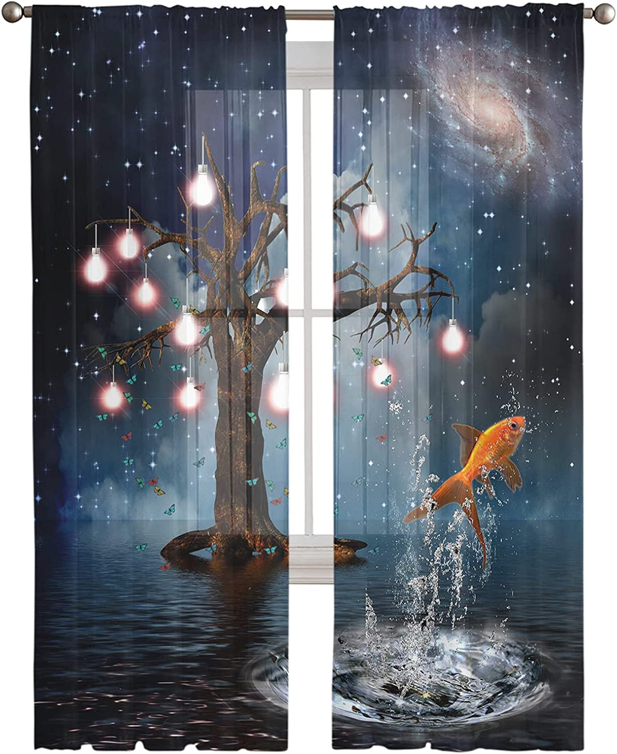 Super beauty product restock quality top! Sheer New York Mall Curtains Dead Tree with Carp Butterfl Decor Bright Jumping