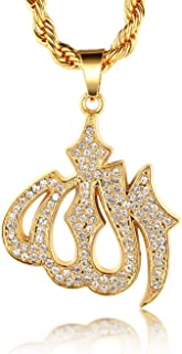 Halukakah ● Gold Bless All ● 18k Real Gold Plated Allah Islam Pendant Necklace with Free Rope Chain 30