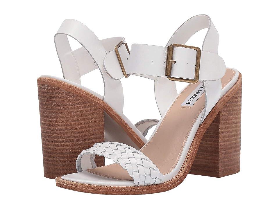 Steve Madden Cadence Heeled Sandal (White Leather) High Heels