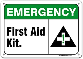 Emergency First Aid Kit Sign, Made Out of .040 Rust-Free Aluminum, Indoor/Signage or Use, UV Protected and Fade-Resistant,...