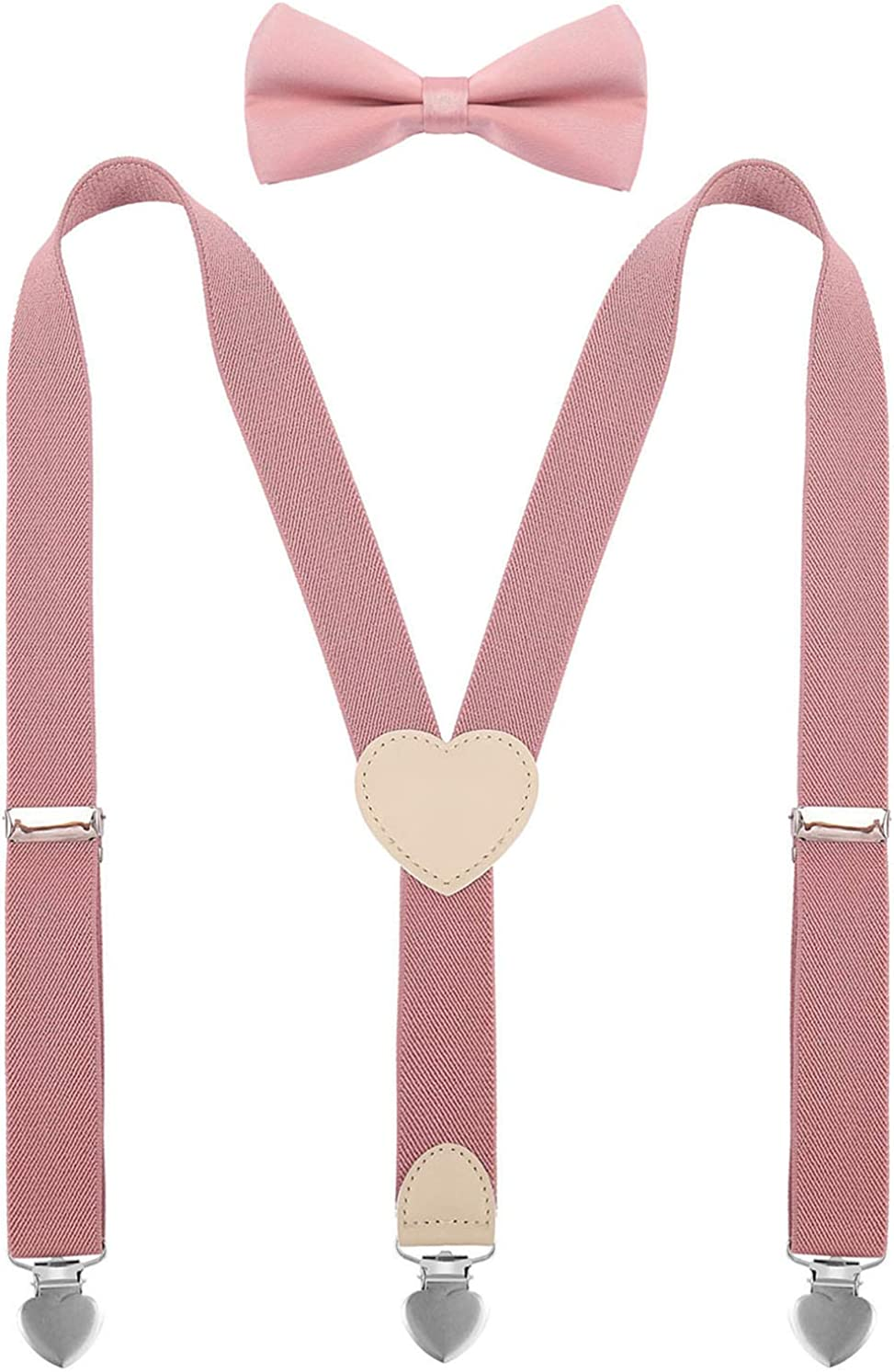YJDS Suspenders for Boys and Bow Tie Set Y Back Heart-Shaped Clips