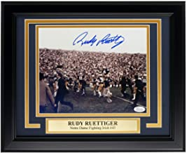 Rudy Ruettiger Autographed Signed Framed 8x10 Notre Dame Carry Off Field Photo JSA
