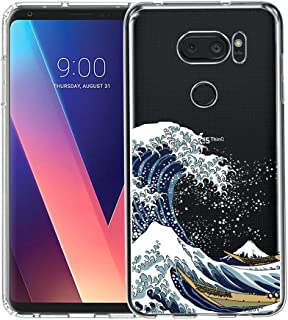 LG V35 ThinQ Case, Unov Clear with Design Soft TPU Shock Absorption Slim Embossed Pattern Protective Back Cover for LG V30S ThinQ V30 Plus V30 (Great Wave)