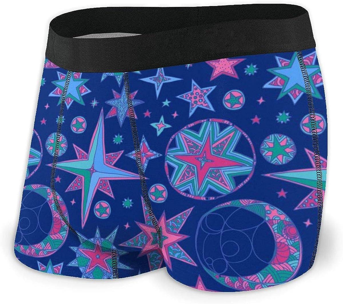 Randolph Wordsworth Mens Boxer Briefs Paisley Star Moon Nave Blue Low Rise Trunks Breathable Bikini Underpants Boys Underwear