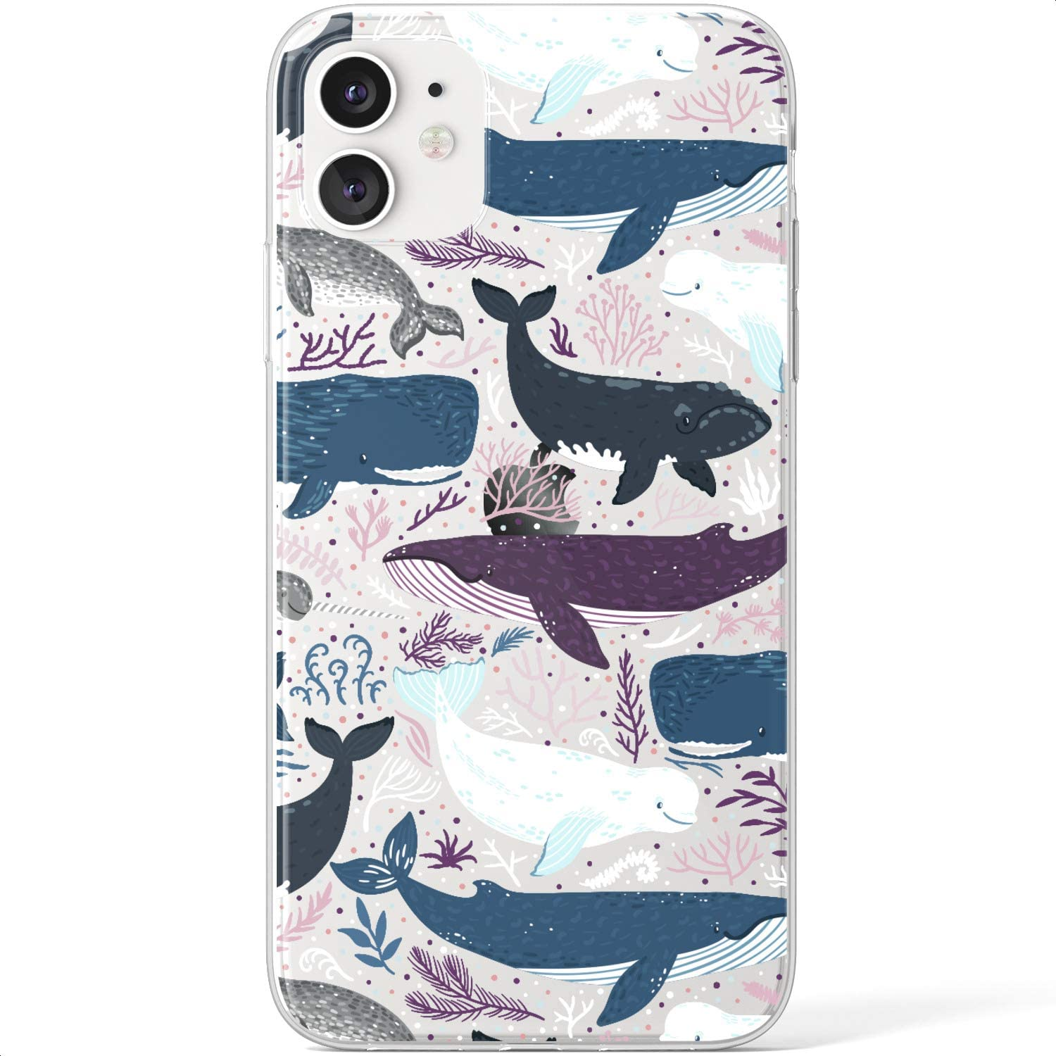 Mertak Clear Case Compatible with iPhone 12 Pro Max Mini 11 SE 10 Xr Xs 8 Plus 7 6s 5s Cartoon Whales Flexible Cute Ocean TPU Beluga Design Fish Silicone Cover Slim Lightweight Protective