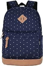 Unisex Packable Lightweight Canvas College Backpacks Travel Hiking Laptop Backpack Rucksack Schoolbags School Book bag Daypack (Navy Blue Polka Dot)