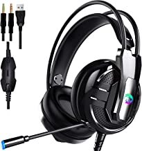 Proxima Direct Gaming Headset Headphone, headset with microphone&LED Light For Laptop Computer, PS4,Cellphone, 3.5mm Stere...