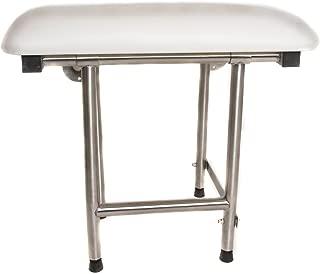 CSI Bathware SEA-SD3216-NH-PA ADA Bathroom Shower Bath Seat Folding Wall-Mounted Rectangular Padded Seat, 32-Inch x 16-Inch, White/Stainless Steel
