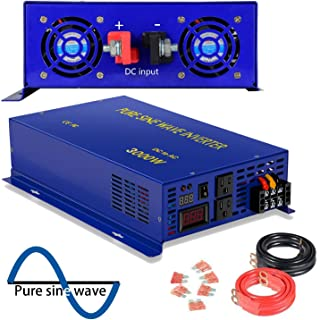 3000 Watt Pure Sine Wave Inverter 12V DC to 120V AC, 3000W Power Invert Surge 6000W Power Converter for Solar System. (3000W 12V 120V)