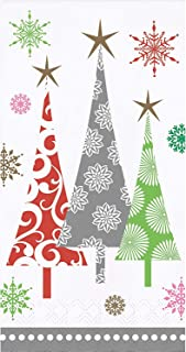 Christmas Themed Guest Towels paper Napkins Dinner Buffet Sized Pack of 30 Total Napkins (Contemporary Christmas Trees)