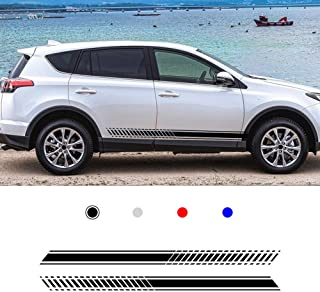 SLONG for Toyota RAV4 Custom Racing Car Truck Body Side Stripes Sticker Self-Adhesive Decal Vehicle Bumper Magnet 20012 Black