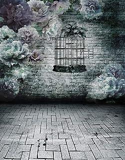 DLQX Brick Floor Vintage Wall Flowers Birdcage Photography Backdrops Photo Props Studio Background 5X7Ft