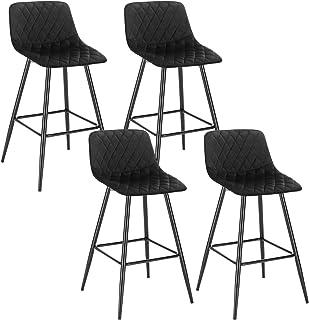WOLTU 4X Taburete de Bar con Respaldo Paquete de 4 Marco de Metal Muebles Cocina Asiento de Terciopelo Taburetes Cocina Alto Sillas Bar Alta Cocina Negro BH252sz-4