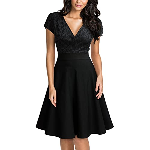 Womens Black Lace Contrast Party Mini Dress size 8 10 12