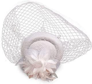 Coolwife Fascinator Hats Pillbox Hat British Bowler Hat Flower Veil Wedding Hat Tea Party Hat