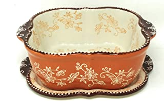 Temp-tations Baking Dish/Baker/Casserole Dish 1.5 Qt w/Lid-It (Trivet), and Plastic Cover (Floral Lace Spice)