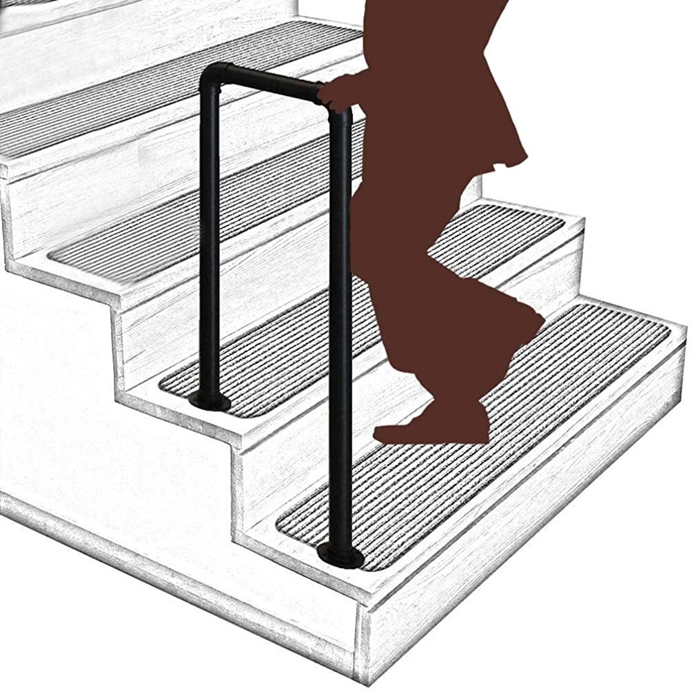 転送支店と組む2ステップ階段手すり、設置キット付き滑り止め錬鉄製手すりブラケット、階段ガーデンチャンネル手すり用 (Size : 95cm/3.1ft)
